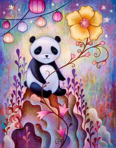 """""""Panda Naps"""" by Jeremiah Ketner, 11 x 14"""", Acrylic on Wood, 2014. All Rights Reserved 