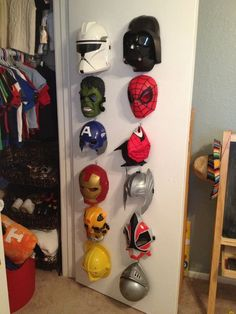 When they are not busy fighting crime and saving the world, store your superhero& masks with Command™ Hooks! When they are not busy fighting crime and saving the world, store your superheros masks with Command™ Hooks! Toy Rooms, New Room, Game Room, Kids Playing, Avengers Bedroom, Boys Superhero Bedroom, Marvel Bedroom, Superhero Room Decor, Kids Bedroom Boys