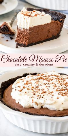 Chocolate Deserts, Chocolate Mouse, Chocolate Mousse Recipe, Decadent Chocolate, Delicious Chocolate, Chocolate Recipes, Homemade Desserts, Easy Cake Recipes, Fun Desserts
