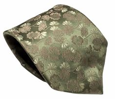 Jones New York Silk Necktie Light Green Floral Leaves 59 by 4 Inches Classic #JonesNewYork #Tie