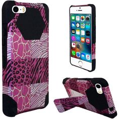 Insten Hot / White Exotic Skins Hard PC/ Silicone Dual Layer Hybrid Case Cover with Stand For Apple iPhone 5/ 5S/ SE #2228805