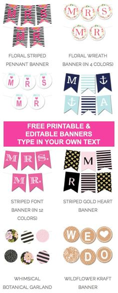 Free Printable & Editable Banners from @chicfetti - type in your own text and print!: