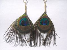 Peacock Feather EarringsBohemian Feather by DesignbyTalarico, $15.00