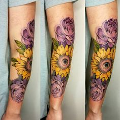 Floral sleeve tattoo sunflower and peony tattoo full color tattoo by kelsey at INK INK in Springfield MO. www.inkinktat.com