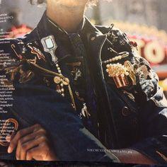 Marc Jacobs embellished-denim jacket (Elle, May 2016)