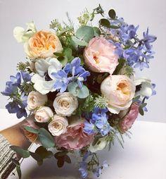 Peach, pink, blue wedding flowers