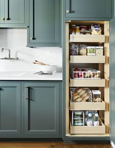 Emily Henderson Portland kitchen pantry with sliding shelves. pantry A Hard-Working Mudroom and Pantry Designed by Emily Henderson Kitchen Pantry Design, Kitchen Pantry Cabinets, Interior Design Kitchen, Diy Kitchen, Kitchen Storage, Kitchen Ideas, Decorating Kitchen, Storage Cabinets, Country Kitchen