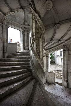Spiral staircase of the Château de Blois by Rafael Ferreira
