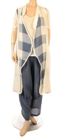 Ana Nonza New Season Beautiful Blue Linen Trouser-Ana Nonza, lagenlook, womens plus size UK clothing, ladies plus size lagenlook fashion clothing, plus size coats, plus size dresses, plus size jackets, plus size trousers, plus size skirts, plus size petticoats, plus size blouses, plus size shirts, plus size tops, plus size tunics, lagenlook plus size fashion clothing