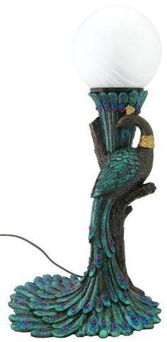 Art Nouveau- Art Deco - Peacock Lamp