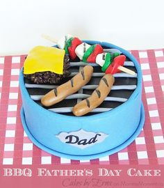 A BBQ Cake to honor grill masters on Father's Day Birthday Cake For Father, Birthday Bbq, Fathers Day Cake, Birthday Cakes For Men, Teen Cakes, Girl Cakes, Cakes For Kids, Fondant Cakes, Cupcake Cakes