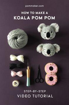 Full length step-by-step video tutorial for DIY koala pompom tutorial by Pom Maker. Free craft tutorial / animal pompom Full length step-by-step video tutorial for DIY koala pompom tutorial by Pom Maker. Crafts For Teens, Crafts To Sell, Diy And Crafts, Cute Crafts, Pom Pom Crafts, Yarn Crafts, Pom Pom Diy, Etsy Crafts, Fabric Crafts