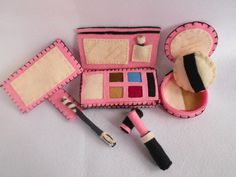 felt Cosmetics  Pink beauty items. $32.00, via Etsy.