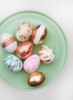 Easter eggs with gold leaf and washi tape