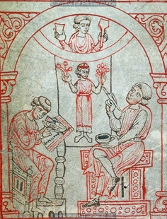 •A painter (with a scrivener), Reiner Musterbuch (ÖNB 507, fol. 2v), c. 1200-1220