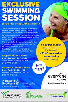 Dementia swimming sessions  @eaPingles @eaBedworth starting w/c 19th May #Dementiafriends #FeelBetterForIt