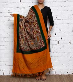 Yellow Handpainted Kalamkari and Ikat Cotton Dupatta: Indian hand-painted art