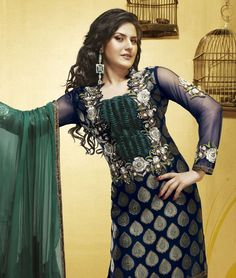 Zarine khan collection.  Blue brocade suit with green combination.