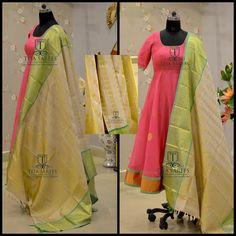 Here is a Cool and Classy Kanjeevaram Duppata paired with a Pink organza Anarkali from Team Teja... TS-DS- 468 Available For orders/queries Call/ whats app on 8341382382 or Mail tejasarees@yahoo.com