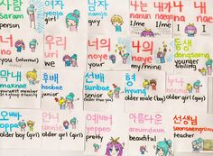 Korean Flashcard 1- Person, Girl, Guy, I me, you, we, your, mine my, younger sibling, youngest, junior, senior, older guy (guy), older girl (guy), older guy (girl), older girl (girl), pretty, beautiful, teacher