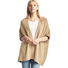 Gap Open Front Batwing Cardigan ($70) ❤ liked on Polyvore featuring tops, cardigans, new camel, regular, oversized tops, gap cardigan, beige top, elbow sleeve tops and half sleeve cardigan