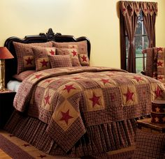 Vintage Star Wine Quilted Bedding Set by India Home Fashions! The quilt is 100% cotton. Full bedding ensemble and matching Country Curtains available.