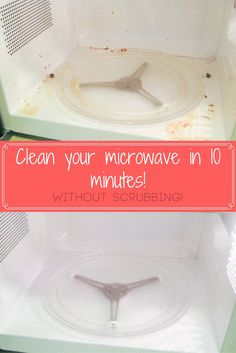 Easy Vinegar Microwave Cleaner. Only takes 10 minutes and no scrubbing! This…