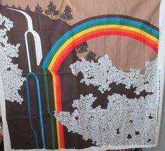 "Rainbow Fabric Panel - Rare Vintage 1977 Brandon House Hand printed Cotton Panel - 50"" x 52"""