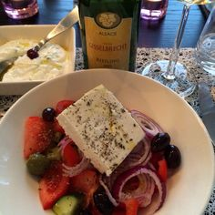 Greek salad and tzatziki with Willy Gisselbrecht riesling wine