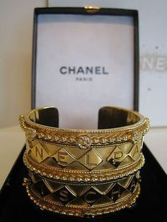 Chanel 1960 | Rare Chanel Couture Signed Cuff Bangle Bracelet-1950/1960s-goossens