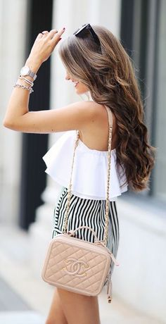 #summer #fashion / stripes + off-the-shoulder top