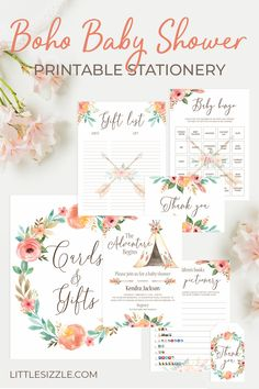 Boho Baby Shower DIY Games and Decor by LittleSizzle. Make planning your boho baby shower a fun DIY project with our Boho Baby Shower Stationery Collection with teepees, arrows, feathers and watercolor floral arrangements. Entertain your guests with our printable boho baby shower games and matching boho baby shower decorations and table signs. Download, print and WOW everyone. #bohobabyshowerideas #DIYbabyshower #tribalbabyshower #bohemianbabyshower #aztecbabyshower #girlbabyshowerideas Baby Shower Advice, Baby Shower Themes, Baby Shower Decorations, Shower Ideas, Baby Shower Flowers, Floral Baby Shower, Baby Shower Invitation Templates, Baby Shower Printables, Baby Shower Activities