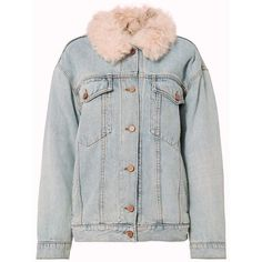 Alexander Wang Women's Shearling Lamb Oversized Denim Jacket (30.636.005 IDR) ❤ liked on Polyvore featuring outerwear, jackets, tops, coats, denim, pink shearling jacket, alexander wang, oversized denim jackets, jean jacket and pink jacket