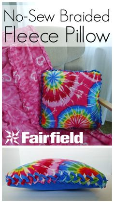 No-Sew Braided-Edge Fleece Pillow 2019 Replace the fleece with a t-shirt and you've got an upcycled pillow. The braided sides will keep it strong! The post No-Sew Braided-Edge Fleece Pillow 2019 appeared first on Blanket Diy. Fleece Crafts, Fleece Projects, Fabric Crafts, Sewing Crafts, No Sew Crafts, No Sew Projects, No Sew Fleece Blanket, No Sew Blankets, Knot Blanket