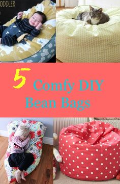 "Bean bags are perfect extra seats in your home. They are portable and very comfy too. Make your own bean bags that are perfect for kids and even adults too. 1. Super Simple DIY Kids Bean Bag Chair YOU WILL NEED: Two (2) pieces upholstery fabric (32"" x 45"") One (1) 22"" zipper One 3.5 …"
