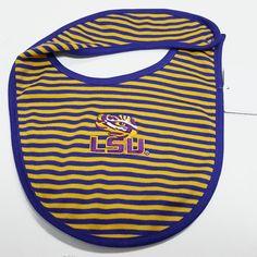 LSU+Tigers+Purple+&+Gold+Striped+Infant+Bib
