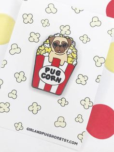 1.5 Pug Corn Hard Enamel Pin In Color Red! Get Your Freshly Cooked Old  Fashioned Pug Corn ! It Will Look Lovely In Your Bag, Jacket Or Backpack Or  Anywhere ...