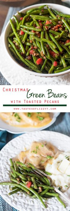 Christmas green beans are dressed up with pimentos and chopped pecans that are caramelized in butter and honey. A simple side dish to complete your dinner. Christmas Green Beans with Toasted Pecans #christmas #vegetables #recipe via @tastesoflizzyt