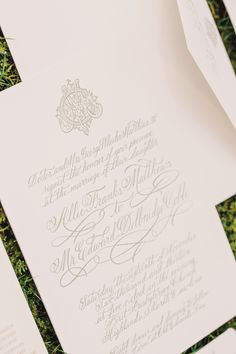 Exquisite monogram logo and letterpress wedding invitation suite by Allison R. Banks Designs. Image by Vue Photography.