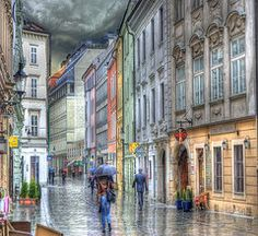 Slovakia Art - Bratislava Rainy Day in Old Town  by Juli Scalzi