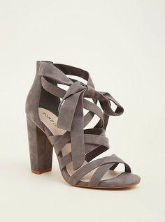 Strappy Block Sandals (Wide Width), GREY