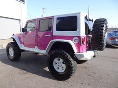 2008 Pink Jeep Wrangler 4WD 4dr Unlimited Rubicon Pink and White Jeep http://www.iseecars.com/used-car-finder