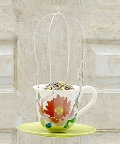 Take a look at the Turquoise Floral Teacup Bird Feeder on #zulily today!