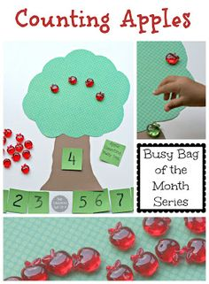 Counting Apples Busy Bag from The Educators' Spin On It Age: Kindergarten Standards: Preschool Apple Theme, Fall Preschool Activities, Apple Activities, Preschool Math, Fun Math, Toddler Activities, Preschool Apples, Kindergarten Math, Maths