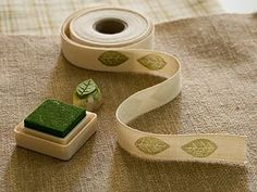 stamps on ribbon - idea from Laurraine Yuyama