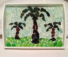 Palm tree mosaic tray I made with sea glass my family and I found #seaglass