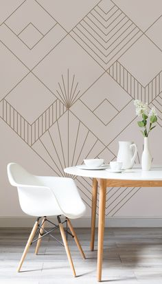 On the lookout for sophisticated wallpaper designs? This Art Deco inspired wallpaper is oozing with style and elegance. Set against a pale pink background, iconic Art Deco motifs help to create visual interest for your walls. Pair with rose gold accessories for a truly luxurious feel.