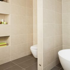Beige bathroom with stud wall | Bathroom designs | Stud walls | housetohome.co.uk
