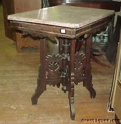 Antique C1880s Victorian Decorative Carved Walnut Marble Top Lamp Side Table