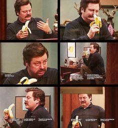 Ron Swanson vs banana (parks an recreation)